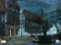 Spooky fog in the town square.