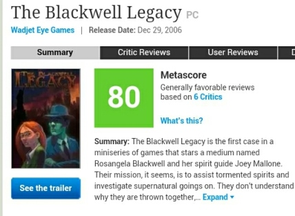 Metacritic Rating for the Blackwell Legacy